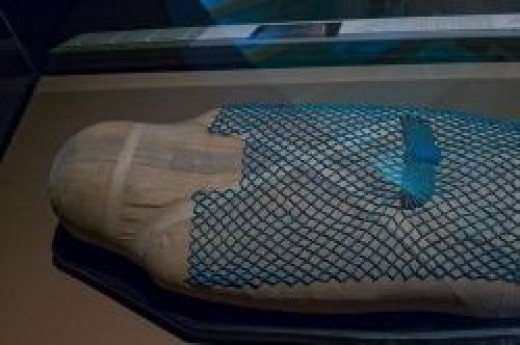 Ancient Keku - Egyptian Mummy covered With a Turquoise Net