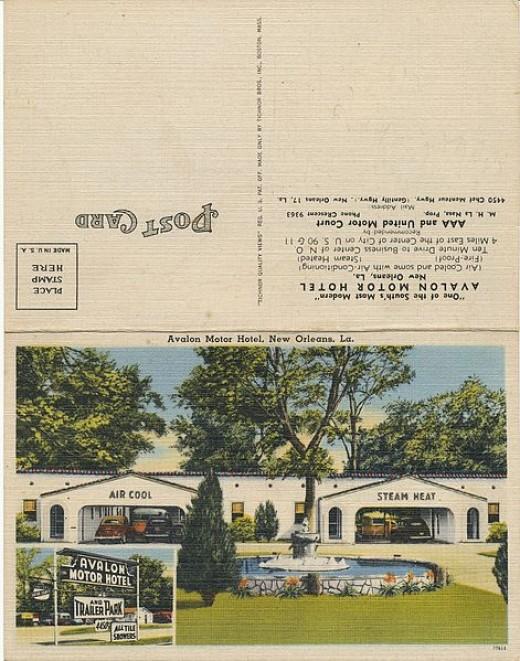 It's motel time! Front and back - 1947 - unique double-folding design.
