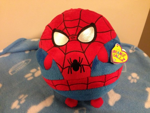 The Large Spider-man Beanie Ballz. It's about the size of a volleyball or a little smaller than my head.