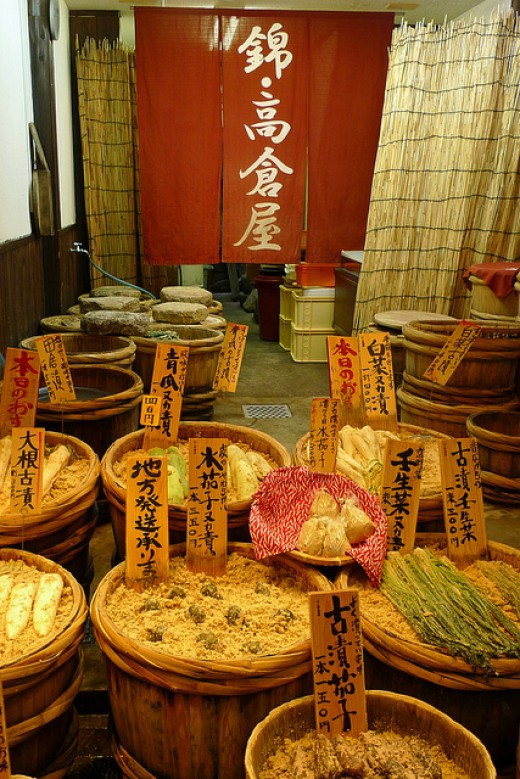 A typical tsukemono ( pickled vegetable ) shop in Japan.