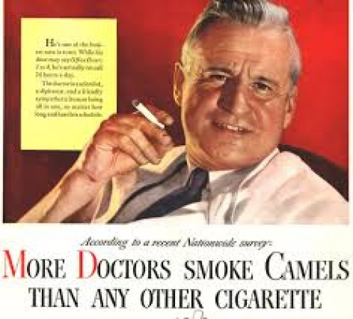 Doctors in the early days endorsed cigarettes