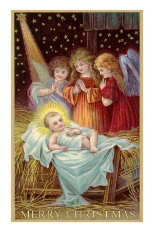 Merry Christmas, Angels Admiring Baby Jesus