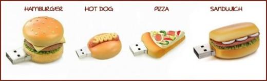 Hamburger, Hot Dog, Pizza USB Flash Drives