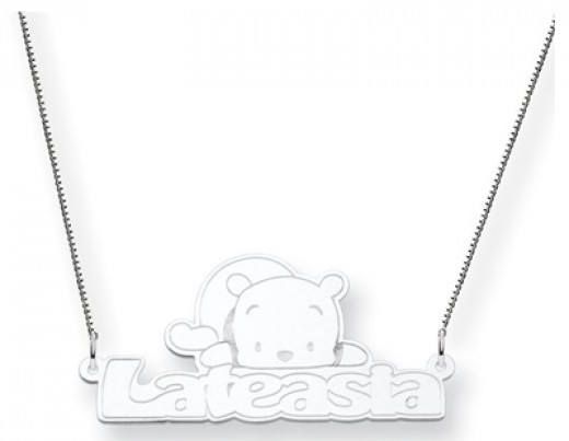 Personalized Sterling Silver Winnie the Pooh Pendant