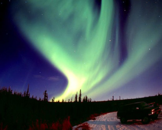 The Aurora Borealis as seen from Alaska, in the United States of America