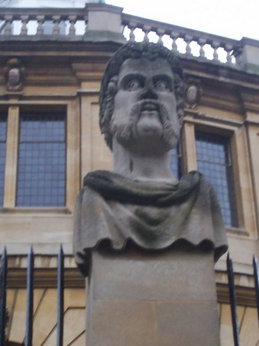 Another Emperor's head statue. In the wonderful Oxford novel 'Zuleika Dobson', the Emperor's heads are said to start sweating when Zuleika goes by in her carriage because they know that she's going to cause all sorts of trouble for the men folk in Ox