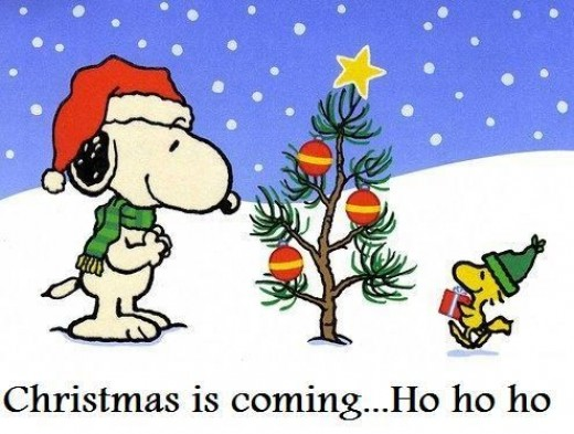 Snoopy and Woodstock celebrating Christmas