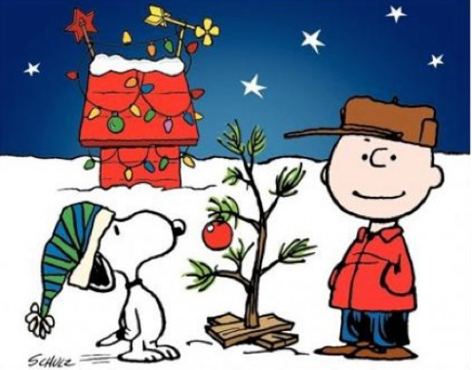 Snoopy and Charlie Brown celebrating Christmas