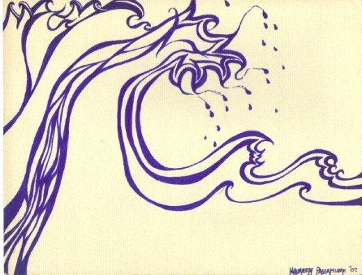 Big Waves a Comin'......Blue marker on paper....not sure if it will cleanse me or drown me.