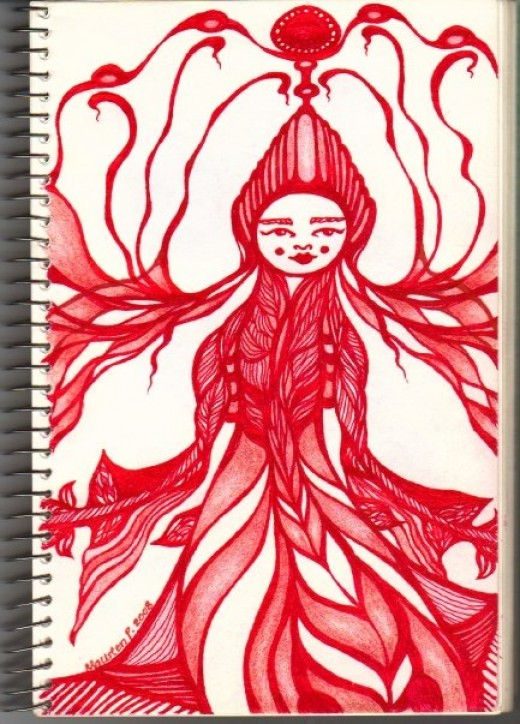 Red Woman....pen on paper.....I think she is some kind of Asian Queen from the future.