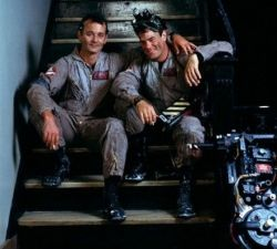 Bill Murray and Dan Aykroyd on the set of Ghostbusters