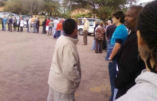 Part of the queue of voters in front of me at the voting station this morning