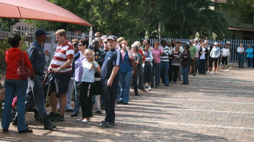 The queue in front of the voting station at my daughter's school, Tomorrow's People Independent School in the Pretoria suburb of Faerie Glen