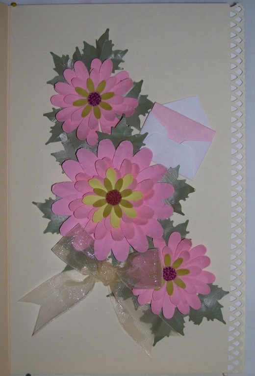 Pink is often the color scheme chosen - and is wonderful for any occasion.  These beauties are on a creme cardstock.
