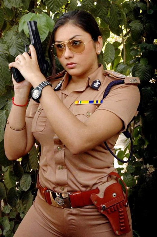 Namitha with a gun