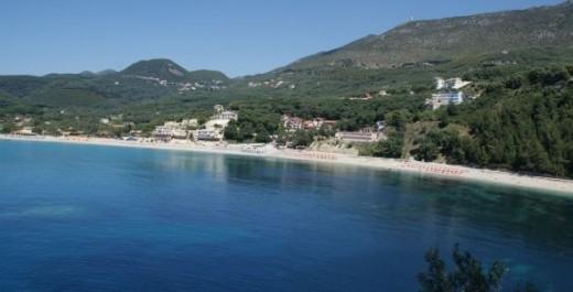 Valtos beach Parga, taken from the top of Parga castle.