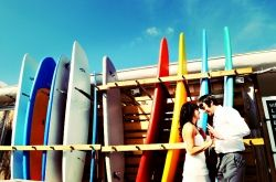 Retro surfer themed wedding at the Postcard Inn on St Pete Beach, Florida
