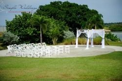 Outdoor wedding ceremony at the Belleair Beach Community Center near Clearwater, FL