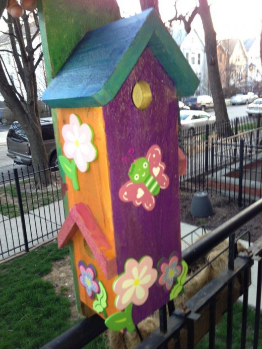Abby's grandfather made this birdhouse and then she painted an decorated it for the OHU silent auction. She raised $100 with this item!