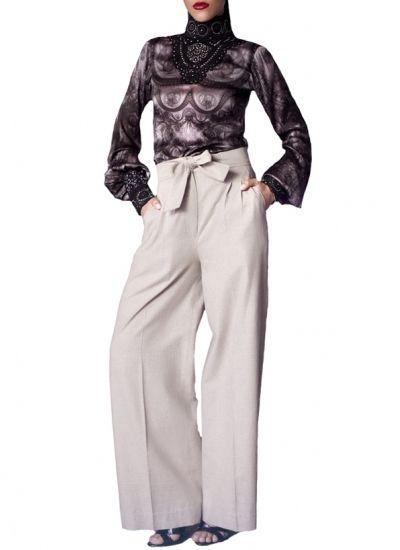 Tie-Waist Wide Leg Trousers + Lace Chocker IMprime Blouseby Siddartha Tytler