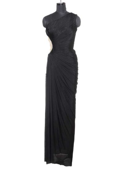 Black Ruched One Shouldered Gown by Raakesh Agarvwal