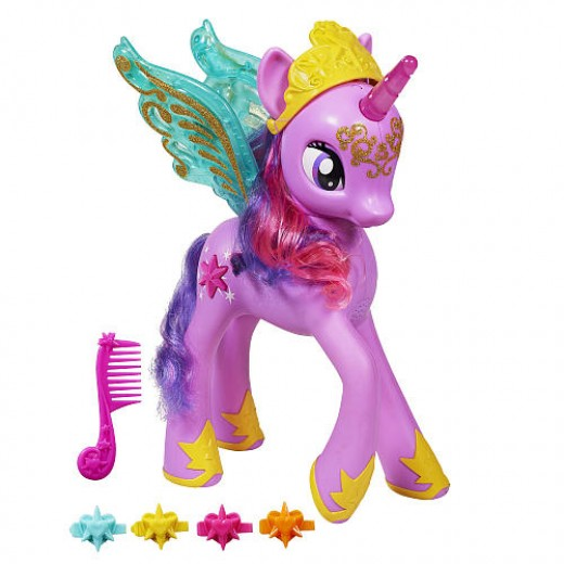 This is a brand-new Princess Twilight Sparkle posing with her comb and extra mane clips.
