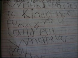 Cutie's writing with weighted utensil
