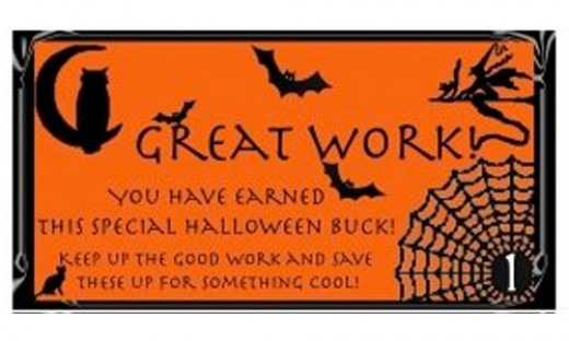 Free Printable Halloween Reward Buck on Orange