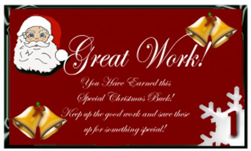 Free Printable Christmas reward Bucks with Santa on Red