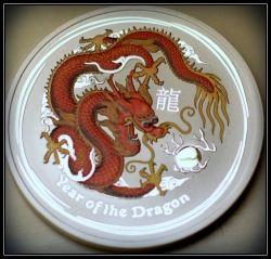 2012 Colored Lunar Silver Dragon