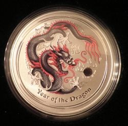 2012 Berlin World Money Fair Colored Silver Dragon by the Australian Perth Mint