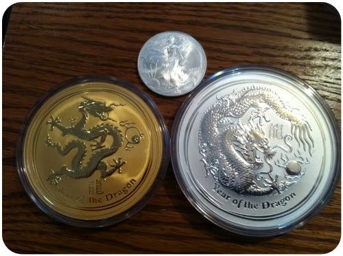 2012 Australian Perth Mint 10 ounce gold and Silver Dragon