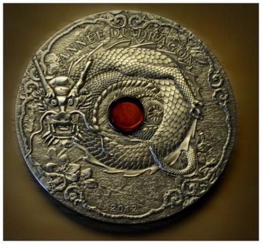 2012 Togolaise Annee Du Dragon Silver Coin