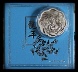 China 2012 Year of the Dragon 1 oz Silver Flower