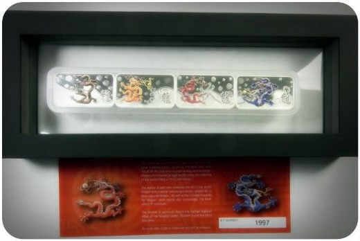 Perth Mint 2012 Year of the Dragon 1oz Silver Rectangle 4-Coin Set