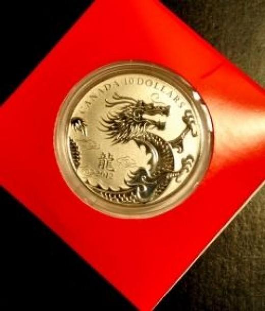 Canada 2012 Year of the Dragon Lunar Zodiac 1/2 Ounce Silver Coin