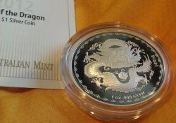 Royal Australian Mint 2012 $1 Year Of The Dragon 1oz Silver Proof