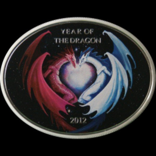 Niue 2012  Year of the Dragon  Love Silver Coin