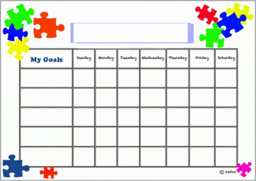 Puzzle pieces goals chart.