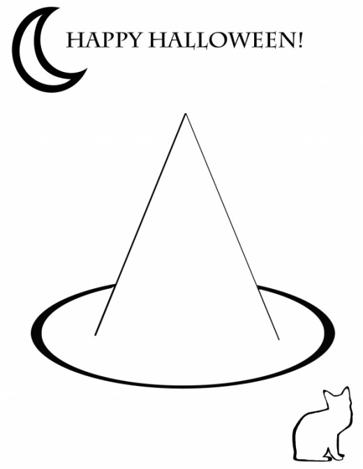 Free Printable Happy Halloween Witches Hat Coloring Page