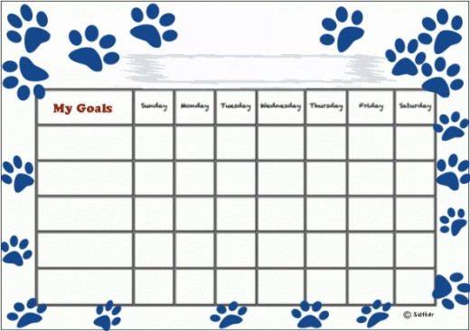 Paw prints goals chart.