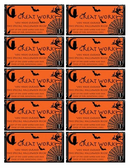 Free Printable Autism Reward Bucks: Halloween theme!