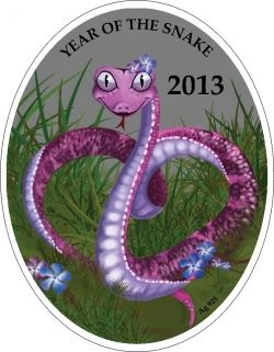 LUNAR CALENDAR Chinese Love Snake 1$ Niue Islands 2013 Silver Coin