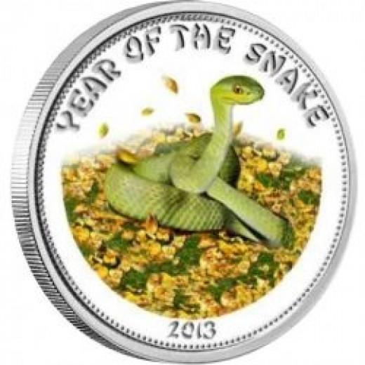 2013 Laos Silver Lunar Snake Coin