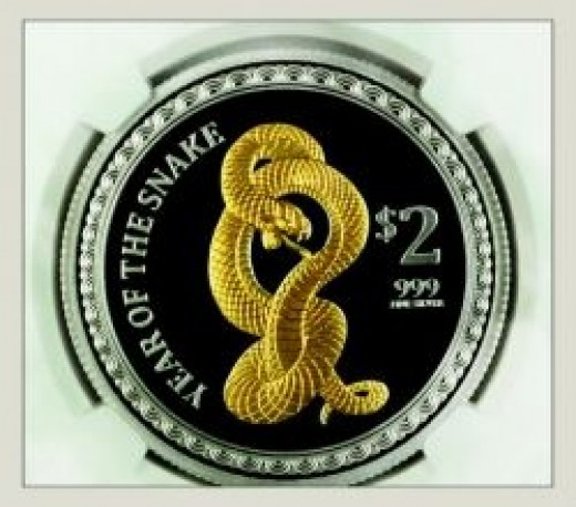 2013 Pitcairns Gilded 1 Oz Silver Lunar Year of the Snake