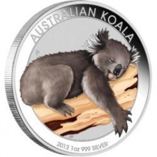 2012 Australian Colored Koala Silver Coin
