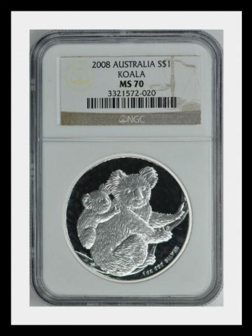 Australia 2008 S$1 Silver Koala NGC MS 70