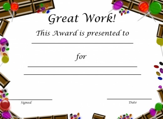 Free Printable Award Certificate for Kids: Candy