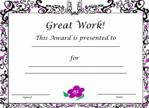 Free Printable Award Certificate Sakura Flowers for Girls