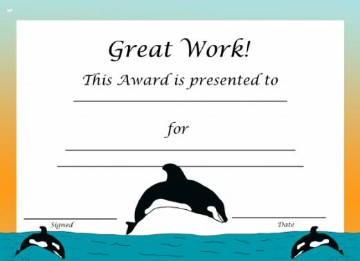 Free Printable Orca Award Certificate